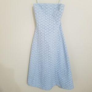 Express Light Blue Strapless Eyelet Dress